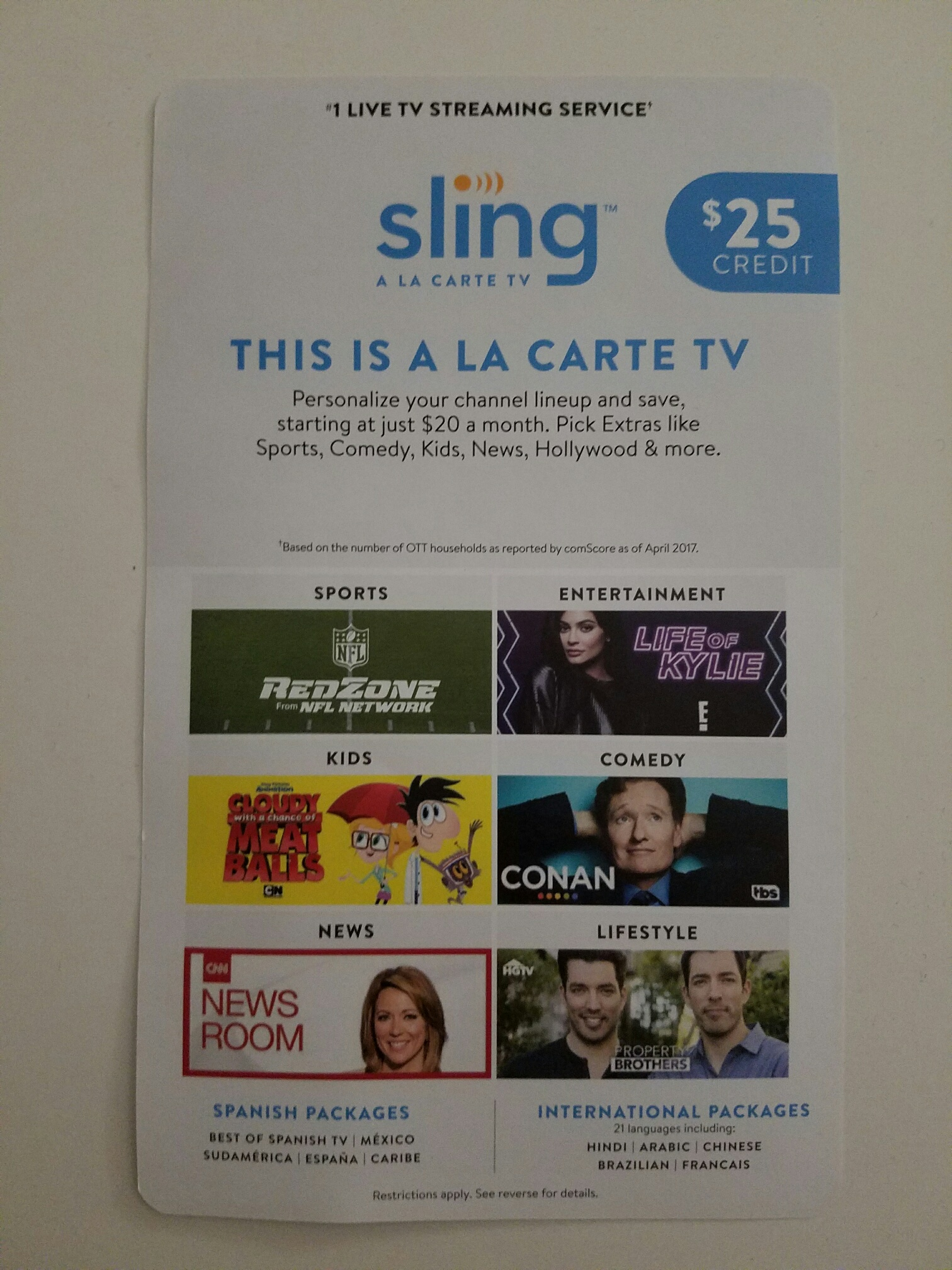 Streaming and Sling TV - No Contract   No SSN   No Lease